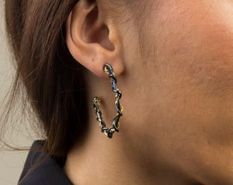 Gypsy Line - Twisted Wire Two Tone Silver Earrings (Medium)