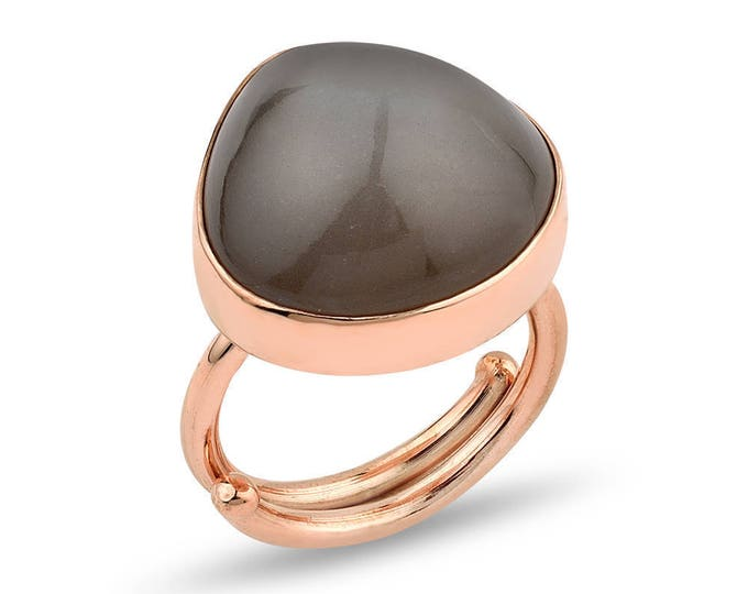 Introductory Pricing Large Moonstone Silver Adjustable  Ring Rose Gold Plated -Dark Grey  La Luna Collection