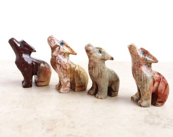 Vintage Coyote Figurine, Coyote Statue, Soapstone Coyote, Coyote Spirit Animal, Coyote Animal Totem, Coyote Decor, Soapstone Animal