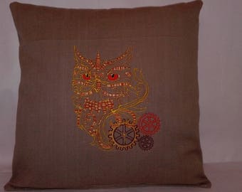 SteamPunk Owl Cushion, Brand New, Machine Embroidery, Designed and Hand Made UK