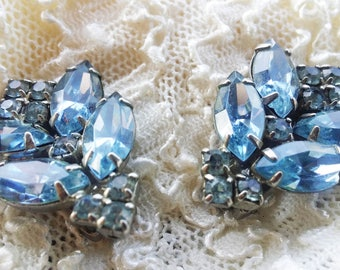Vintage Blue Glass Rhinestone Earrings - 1950 - Excellent Condition - Spring - Special Occasion - Bridal Shower - Vintage
