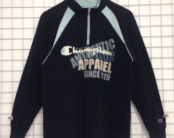 Vintage Champion Athletic Apparel Sweatshirts Half Zipper Big Logo Nice Design