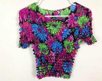 90s floral stretch top one size fits all