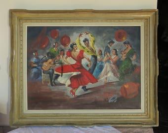 large painting old signed Flamenco Spanish dancers, great old Spanish Flamenco dancers painting.