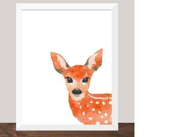 Baby Deer Peek-A-Boo Print