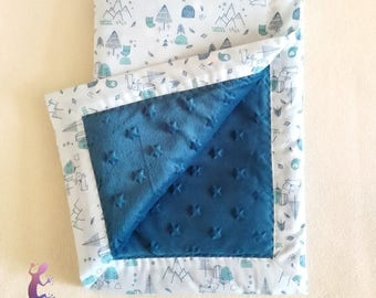 Fleece blanket for baby in printed cotton and fleece minky 61x92cm