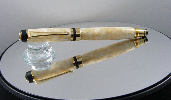Handcrafted Classic Elite Rollerball Ink Pen in 24K Gold and Seashell Acrylic