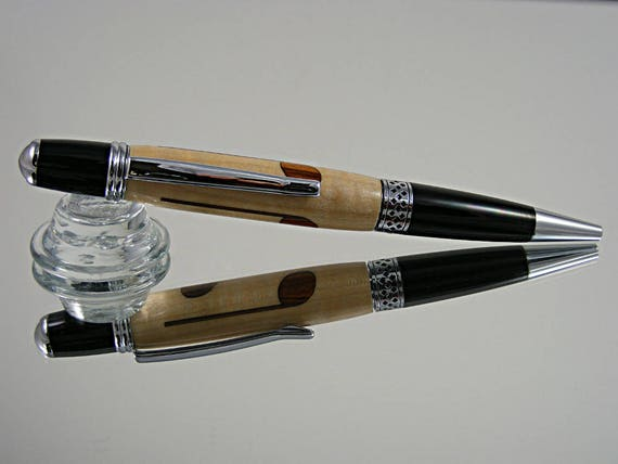 Handcrafted Inlayed Pen in Chrome and Black Enamel with Music Note Inlay