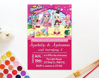 Personalized Shopkins Invitation Card Birthday Party Shoppies Sara Sushi Rainbow Kate Polka Dots DIY - Digital