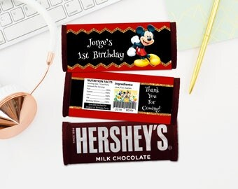 Personalized Mickey Mouse Hershey's Hersheys Chocolate Bar Wrapper Gold Accent Red Black Birthday Party Favors Printable DIY - Digital File