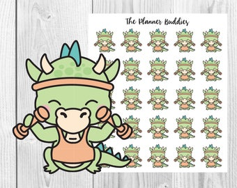 Spike the Dragon, Weights, Fitness, Health, Exercise, Planner Stickers, Functional Stickers