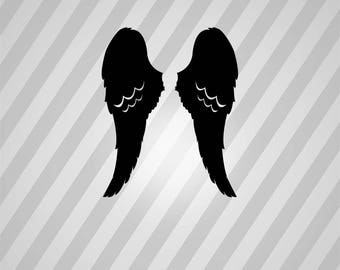 Angel Wings Silhouette Angels Wing - Svg Dxf Eps Silhouette Rld RDWorks Pdf Png AI Files Digital Cut Vector File Svg File Cricut Laser Cut