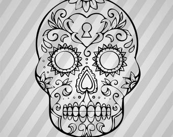 Sugar Skull Day Of The Dead Svg - Silhouette Svg Dxf Eps Rld Rdworks Pdf Png Ai Files Digital Cut Vector File Svg File Cricut Laser Cut