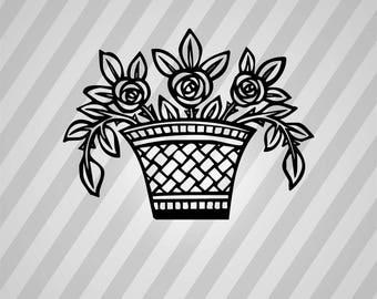Basket Flowers Silhouette - Svg Dxf Eps Rld Rdworks Pdf Png Ai Files Digital Cut Vector File Svg File Cricut Laser Cut