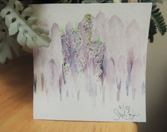 Wisteria 5x5 Watercolor Painting