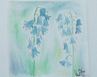 Original Bluebell Watercolor 5x5 Painting