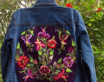 Multi-colored Embroidered Flowers from Chiapas Fabric on Denim Jean Jacket