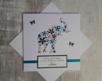 Personalised Handmade Birthday Card with Elephant design