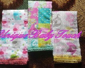 Girls Burp cloths(Sold by sets ONLY)