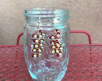 Corkscrew beaded earrings, yellow and red. Keep away from children. Canning glass not included
