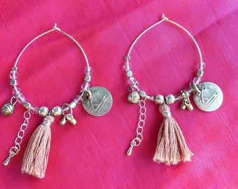 Silver plated hoops with charms and PomPoms