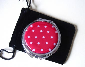 Pocket mirror, bag, red polymer clay with white dots