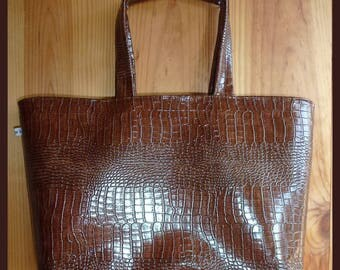 Handbag Brown faux leather alligo