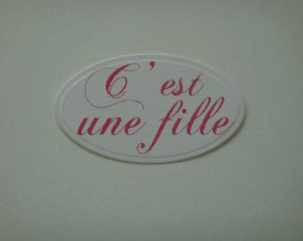 Cut paper white personalized baby girl pink creation tag