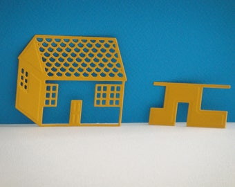 Cut little yellow House dark for scrapbooking and card