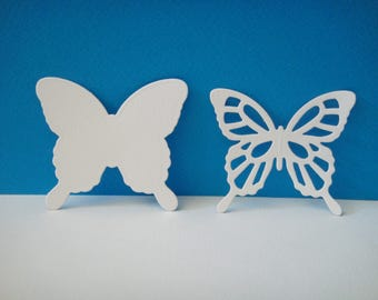 Cutting white set of 2 butterflies of 5.7 cm in height