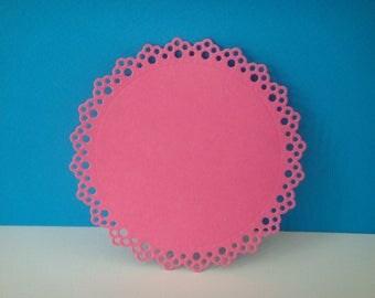 Dark pink round cut 9 cm with ornaments