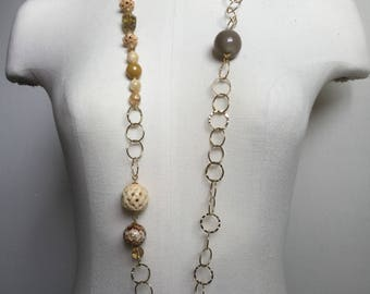 Gold metal, Horn, agate, rutilated quartz, lemon quartz necklace.