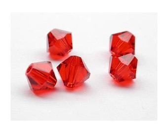 8 mm: 2 Swarovski Crystal bicone beads Light Siam - Red