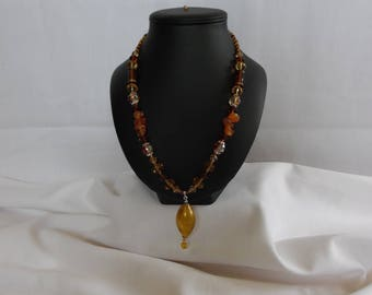 Blown glass, glass beads, amber and Topaz drop necklace pendant.