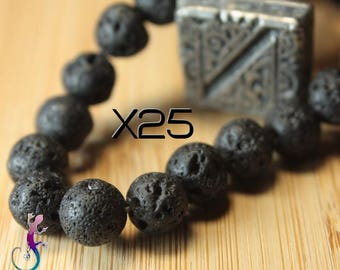 25 8mm natural black lava stone beads