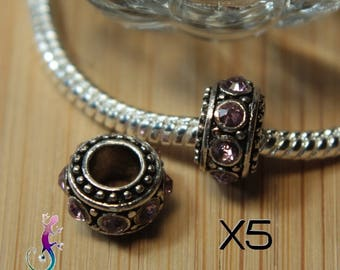 5 European charms silver metal with pink rhinestones for bracelet or necklace European A122