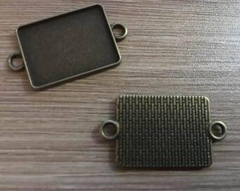 set of 4 rectangular connectors 25 x 18 mm bronze