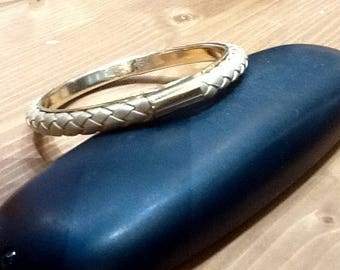Bangle metal dore and braided leather color gold