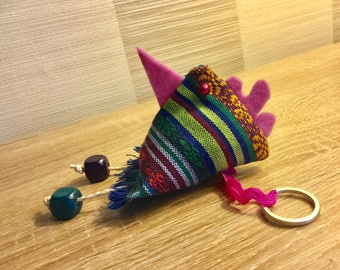 Keychain or bag multicolor fabric chick charm