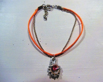 Gear and satin cord chain bracelet