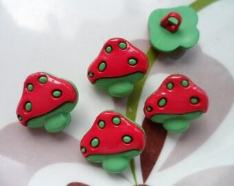 LOT 6 buttons: mushroom red/green 18mm