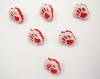 LOT 6 buttons: red/white 13mm dog paw