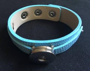 Support adjustable 2 blue leather bracelet ranks 5.5 mm snap