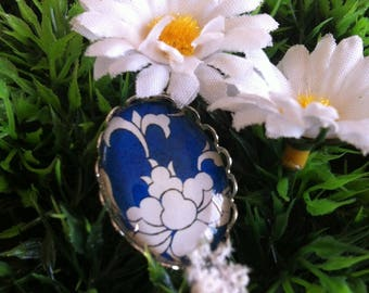 """white flower on blue"" silver plated Adjustable ring"