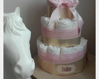 Lace and gold diaper cake