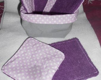 Set of 6 washable wipes and its matching cobeille