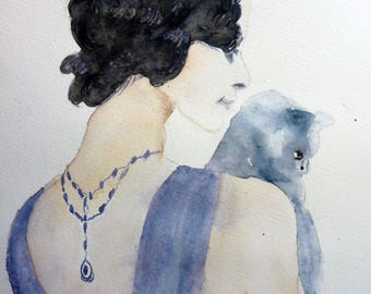 watercolor of a beautiful woman with a cat in her arms