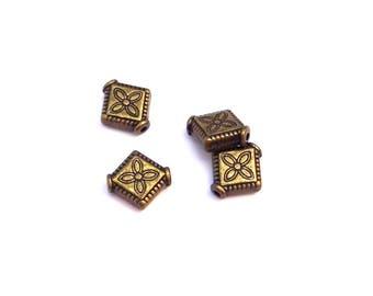 Rhombus bronze 10 x 8 mm A22395 10 beads