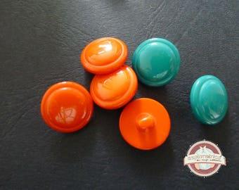 6 buttons round orange blue 18 Mm fancy