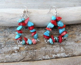 "Earrings turquoise and coral ""Tibetan"" #gemstones #gemstonesearrings #pierresdegemmes #turquoise #corail"
